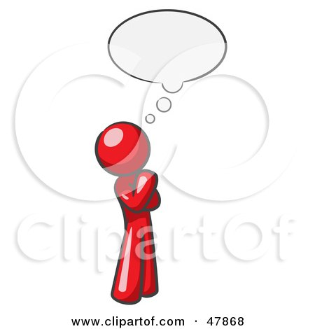 Red Design Mascot Man In Thought With A Bubble Posters, Art Prints
