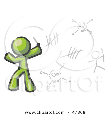 Royalty-Free (RF) Clipart Illustration of a Green Design Mascot Man Writing Tribal Designs On A Wall by Leo Blanchette