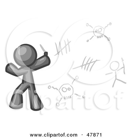 Royalty-Free (RF) Clipart Illustration of a Gray Design Mascot Man Writing Tribal Designs On A Wall by Leo Blanchette