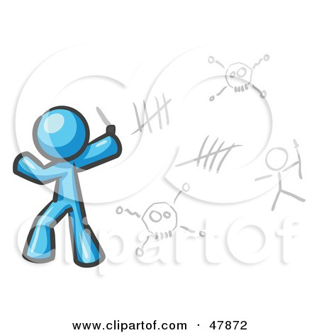 Royalty-Free (RF) Clipart Illustration of a Blue Design Mascot Man Writing Tribal Designs On A Wall by Leo Blanchette