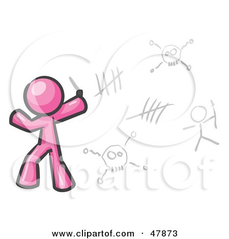 Royalty-Free (RF) Clipart Illustration of a Pink Design Mascot Man Writing Tribal Designs On A Wall by Leo Blanchette