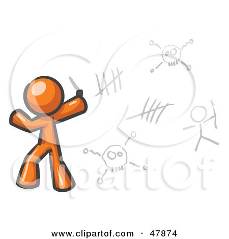Royalty-Free (RF) Clipart Illustration of an Orange Design Mascot Man Writing Tribal Designs On A Wall by Leo Blanchette