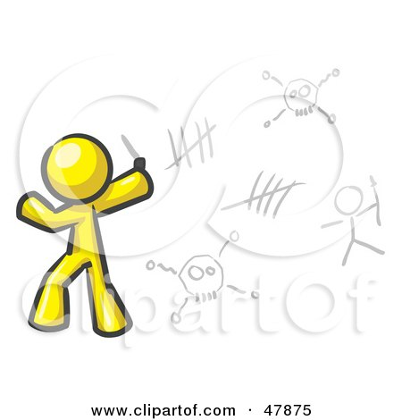Royalty-Free (RF) Clipart Illustration of a Yellow Design Mascot Man Writing Tribal Designs On A Wall by Leo Blanchette