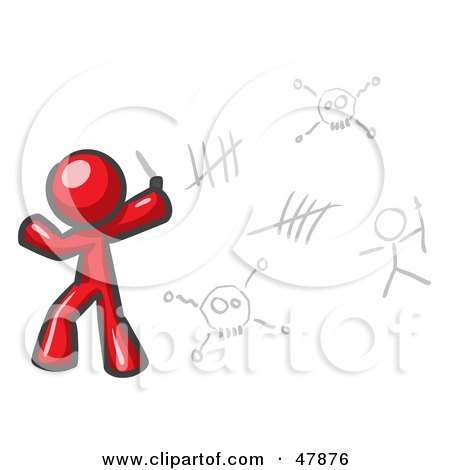 Royalty-Free (RF) Clipart Illustration of a Red Design Mascot Man Writing Tribal Designs On A Wall by Leo Blanchette