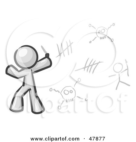 Royalty-Free (RF) Clipart Illustration of a White Design Mascot Man Writing Tribal Designs On A Wall by Leo Blanchette