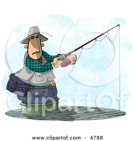 Man Fishing In a Lake with a Standard Rod and Reel Fishing Pole Clipart by djart