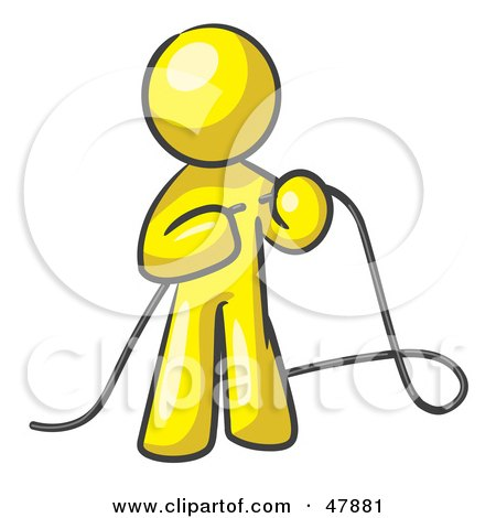 Royalty-Free (RF) Clipart Illustration of a Yellow Design Mascot Man Tying Loose Ends Of Cables by Leo Blanchette