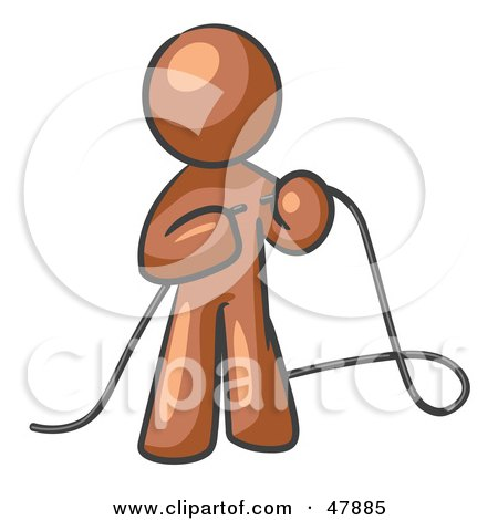 Royalty-Free (RF) Clipart Illustration of a Brown Design Mascot Man Tying Loose Ends Of Cables by Leo Blanchette