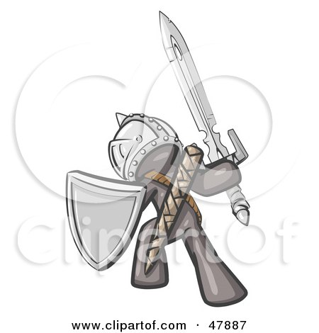Royalty-Free (RF) Clipart Illustration of a Gray Design Mascot Man Ultimate Warrior With A Sword And Shield by Leo Blanchette