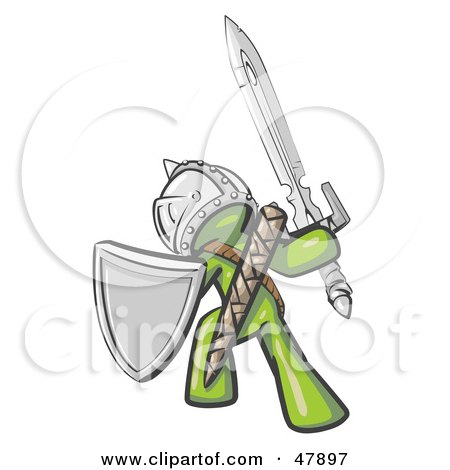 Royalty-Free (RF) Clipart Illustration of a Green Design Mascot Man Ultimate Warrior With A Sword And Shield by Leo Blanchette