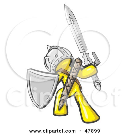 Royalty-Free (RF) Clipart Illustration of a Yellow Design Mascot Man Ultimate Warrior With A Sword And Shield by Leo Blanchette