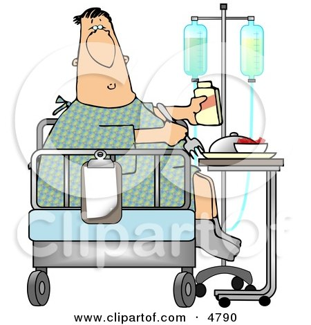 Recovering Sick Patient Eating Lunch On the Bed of his Hospital Room Clipart by djart