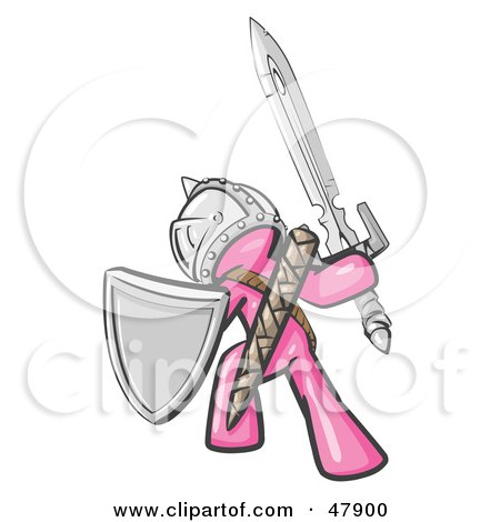 Royalty-Free (RF) Clipart Illustration of a Pink Design Mascot Man Ultimate Warrior With A Sword And Shield by Leo Blanchette