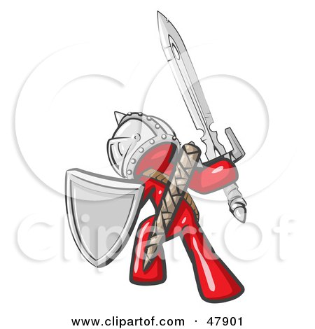 Royalty-Free (RF) Clipart Illustration of a Red Design Mascot Man Ultimate Warrior With A Sword And Shield by Leo Blanchette