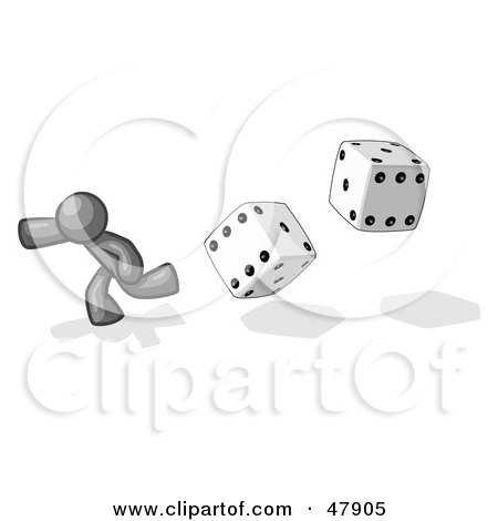 Royalty-Free (RF) Clipart Illustration of a Gray Design Mascot Man Running From Dice by Leo Blanchette