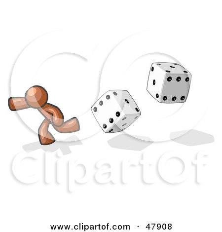 Royalty-Free (RF) Clipart Illustration of a Brown Design Mascot Man Running From Dice by Leo Blanchette