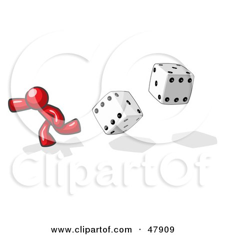Royalty-Free (RF) Clipart Illustration of a Red Design Mascot Man Running From Dice by Leo Blanchette