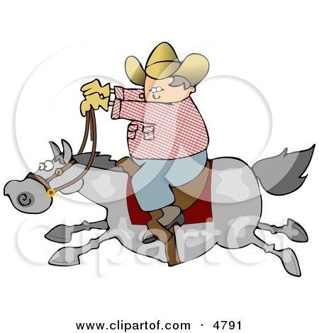 Cowboy Riding A Fast Horse Clipart