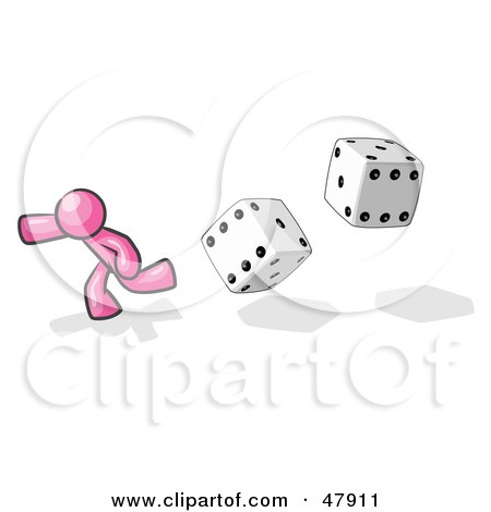 Royalty-Free (RF) Clipart Illustration of a Pink Design Mascot Man Running From Dice by Leo Blanchette