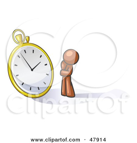Royalty-Free (RF) Clipart Illustration of a Brown Design Mascot Man Worried And Watching A Clock by Leo Blanchette