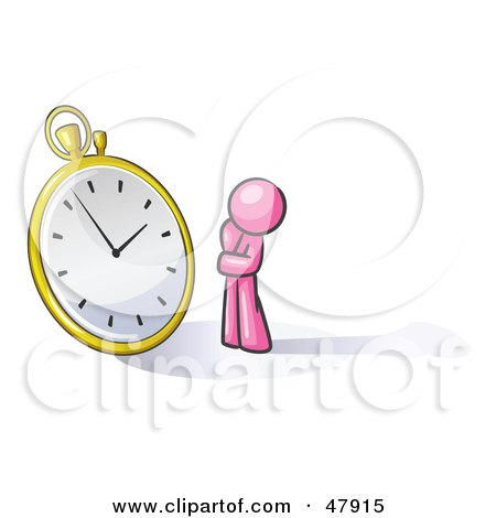 Royalty-Free (RF) Clipart Illustration of a Pink Design Mascot Man Worried And Watching A Clock by Leo Blanchette