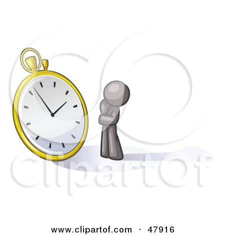 Royalty-Free (RF) Clipart Illustration of a Gray Design Mascot Man Worried And Watching A Clock by Leo Blanchette