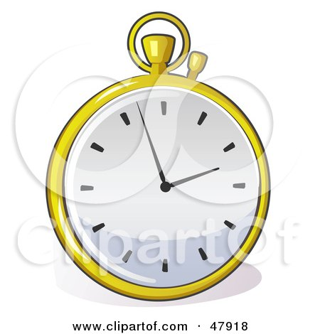 Royalty-Free (RF) Clipart Illustration of a Fancy Yellow Pocket Watch by Leo Blanchette