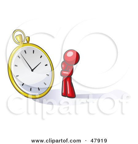Red Design Mascot Man Worried And Watching A Clock Posters, Art Prints
