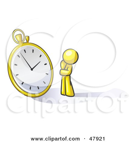 Royalty-Free (RF) Clipart Illustration of a Yellow Design Mascot Man Worried And Watching A Clock by Leo Blanchette
