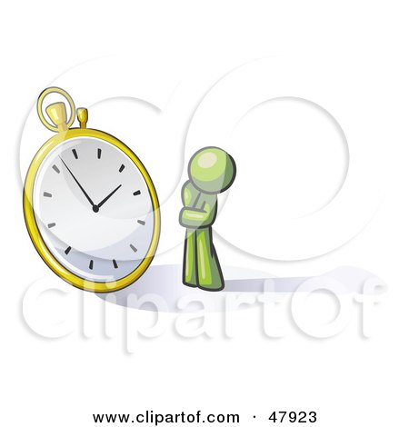 Green Design Mascot Man Worried And Watching A Clock Posters, Art Prints