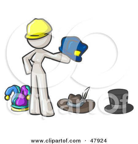 Royalty-Free (RF) Clipart Illustration of a White Design Mascot Woman With Many Hats by Leo Blanchette