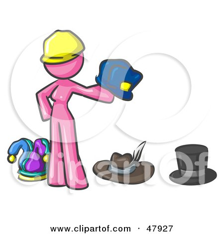 Royalty-Free (RF) Clipart Illustration of a Pink Design Mascot Woman With Many Hats by Leo Blanchette