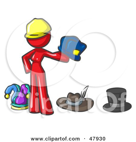 Royalty-Free (RF) Clipart Illustration of a Red Design Mascot Woman With Many Hats by Leo Blanchette