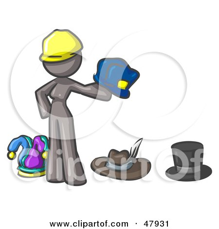 Royalty-Free (RF) Clipart Illustration of a Gray Design Mascot Woman With Many Hats by Leo Blanchette