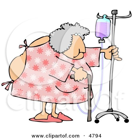 Obese Elderly Woman Walking Around With A Cane While Attached To A Portable Intravenous Drip Line Clipart