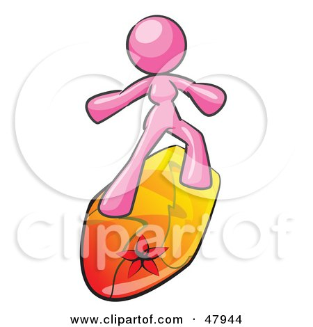 Royalty-Free (RF) Clipart Illustration of a Pink Design Mascot Surfer Chick by Leo Blanchette