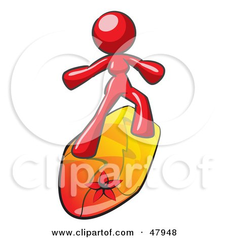 Royalty-Free (RF) Clipart Illustration of a Red Design Mascot Surfer Chick by Leo Blanchette