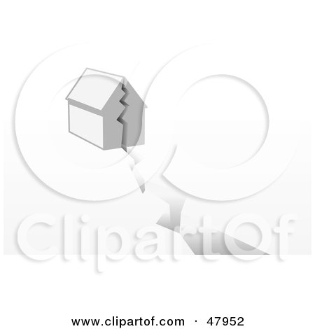 Royalty-Free (RF) Clipart Illustration of a House Being Split On A Crack Or Fault by Leo Blanchette