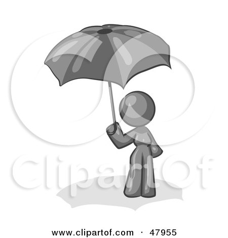 Royalty-Free (RF) Clipart Illustration of a Gray Design Mascot Woman Under An Umbrella by Leo Blanchette