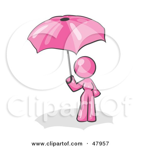Royalty-Free (RF) Clipart Illustration of a Pink Design Mascot Woman Under An Umbrella by Leo Blanchette