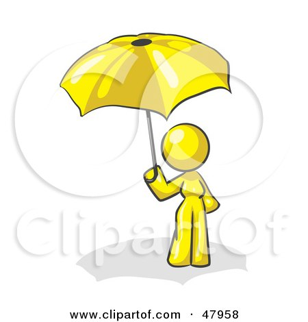 Royalty-Free (RF) Clipart Illustration of a Yellow Design Mascot Woman Under An Umbrella by Leo Blanchette