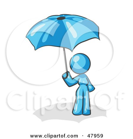 Royalty-Free (RF) Clipart Illustration of a Blue Design Mascot Woman Under An Umbrella by Leo Blanchette