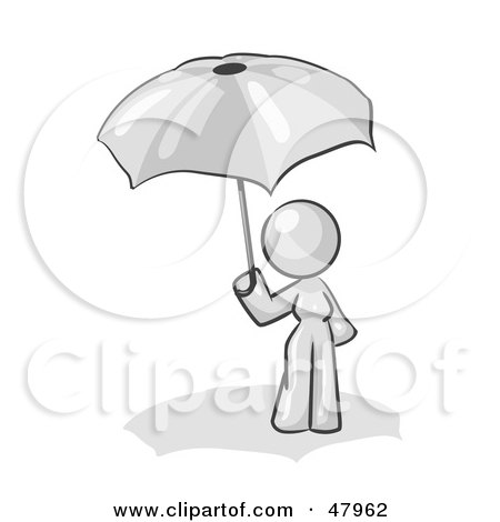 Royalty-Free (RF) Clipart Illustration of a White Design Mascot Woman Under An Umbrella by Leo Blanchette