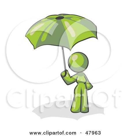 Royalty-Free (RF) Clipart Illustration of a Green Design Mascot Woman Under An Umbrella by Leo Blanchette