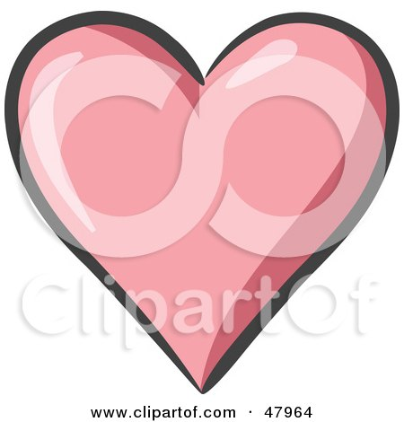 Royalty-Free (RF) Clipart Illustration of a Plump And Shiny Pink Heart by Leo Blanchette