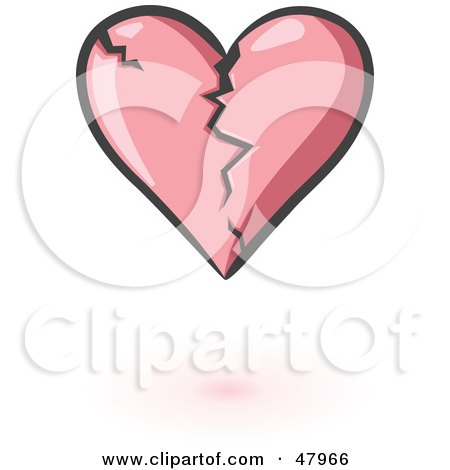 Royalty-Free (RF) Clipart Illustration of a Cracking Pink Heart With Shading by Leo Blanchette