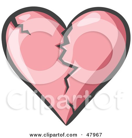 Royalty-Free (RF) Clipart Illustration of a Cracking And Breaking Pink Heart by Leo Blanchette