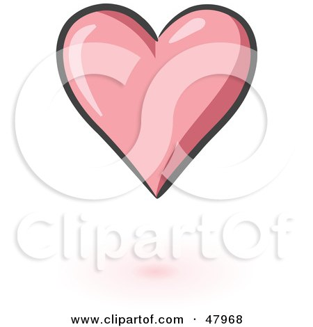 Royalty-Free (RF) Clipart Illustration of a Perfect Pink Heart With Shading by Leo Blanchette