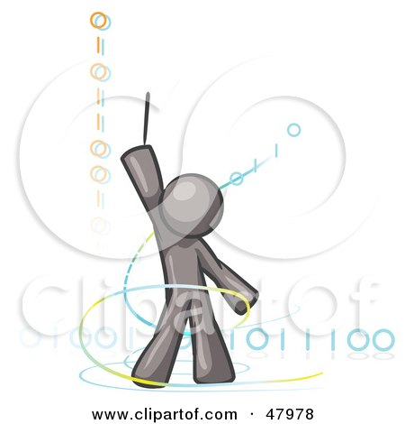 Royalty-Free (RF) Clipart Illustration of a Gray Design Mascot Man Composing Binary Code by Leo Blanchette