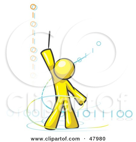 Royalty-Free (RF) Clipart Illustration of a Yellow Design Mascot Man Composing Binary Code by Leo Blanchette
